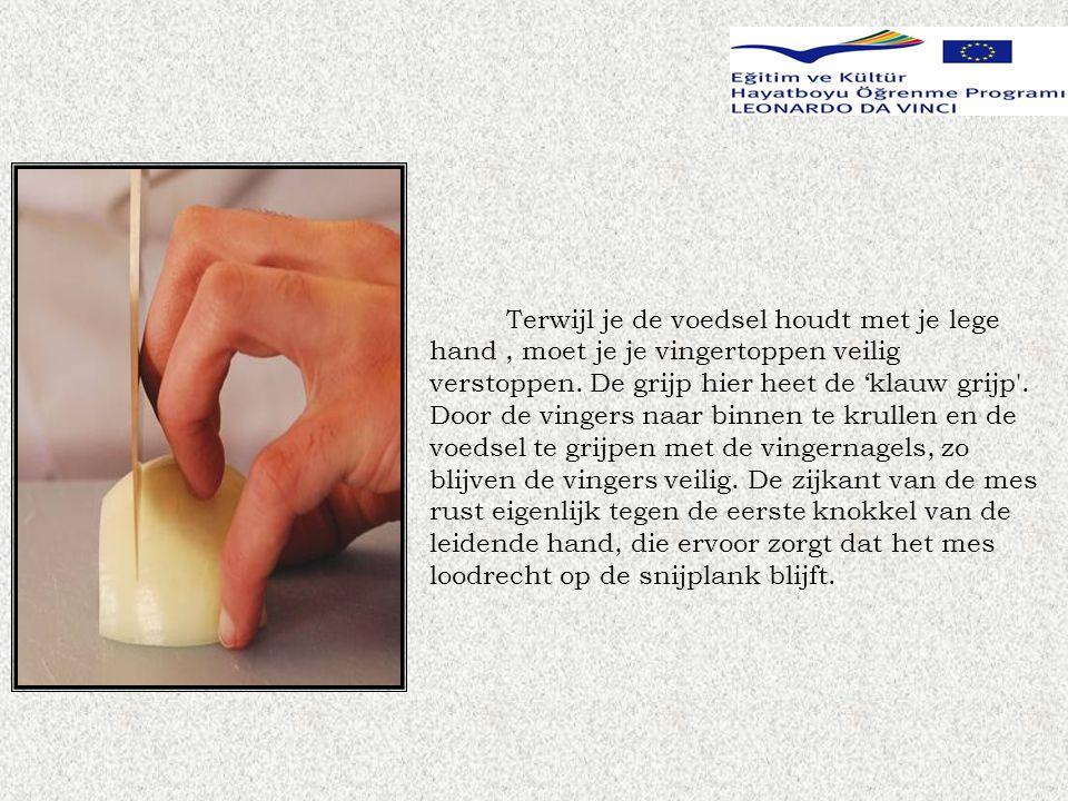 Terwijl je de voedsel houdt met je lege hand , moet je je vingertoppen veilig verstoppen.