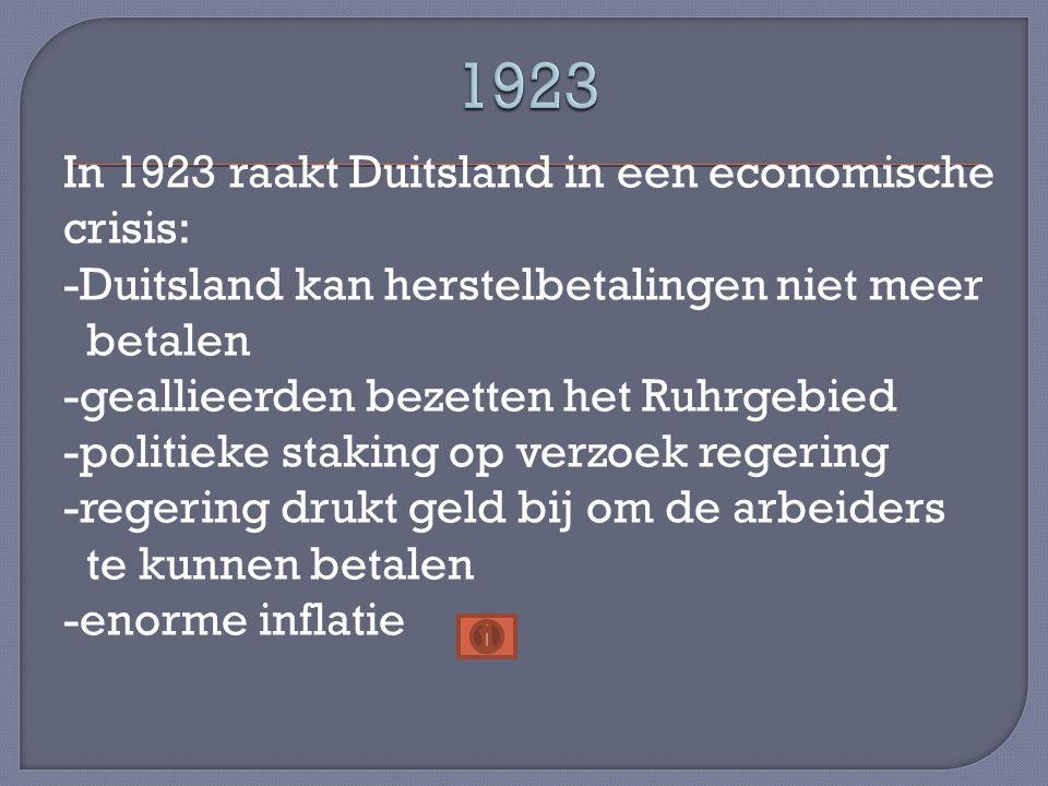 1923 In 1923 raakt Duitsland in een economische crisis: