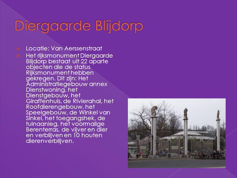 Diergaarde Blijdorp Locatie: Van Aerssenstraat
