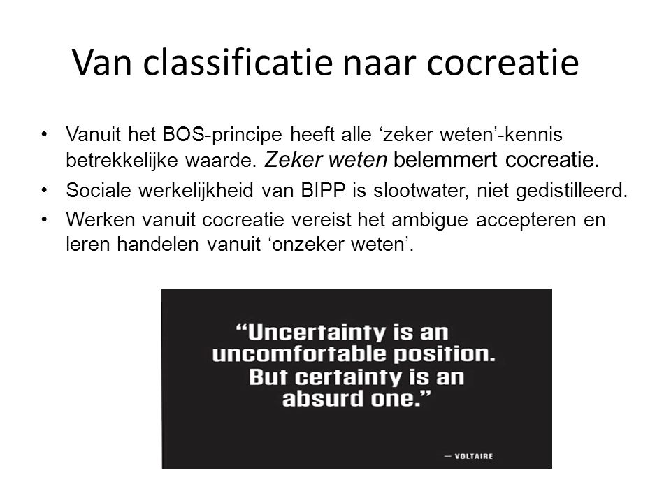 Van classificatie naar cocreatie