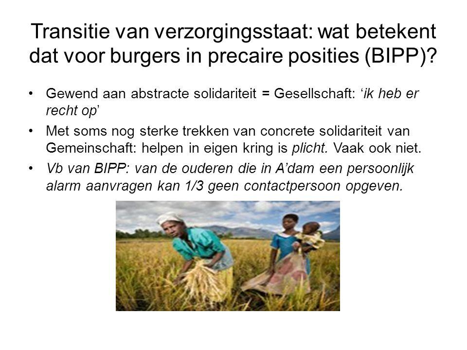 Transitie van verzorgingsstaat: wat betekent dat voor burgers in precaire posities (BIPP)