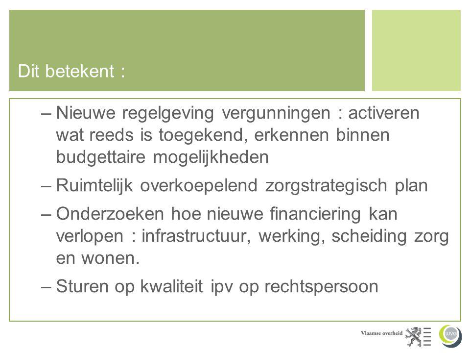 Dit betekent : Nieuwe regelgeving vergunningen : activeren wat reeds is toegekend, erkennen binnen budgettaire mogelijkheden.