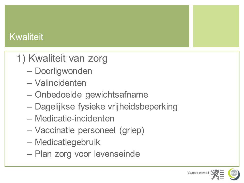 1) Kwaliteit van zorg Kwaliteit Doorligwonden Valincidenten