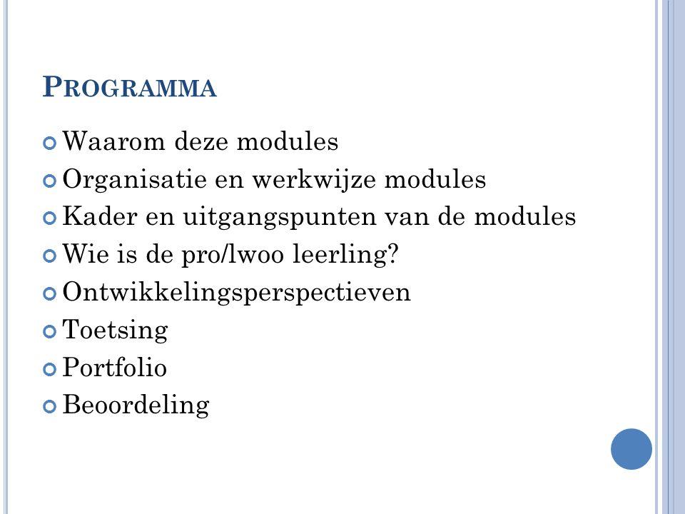 Programma Waarom deze modules Organisatie en werkwijze modules