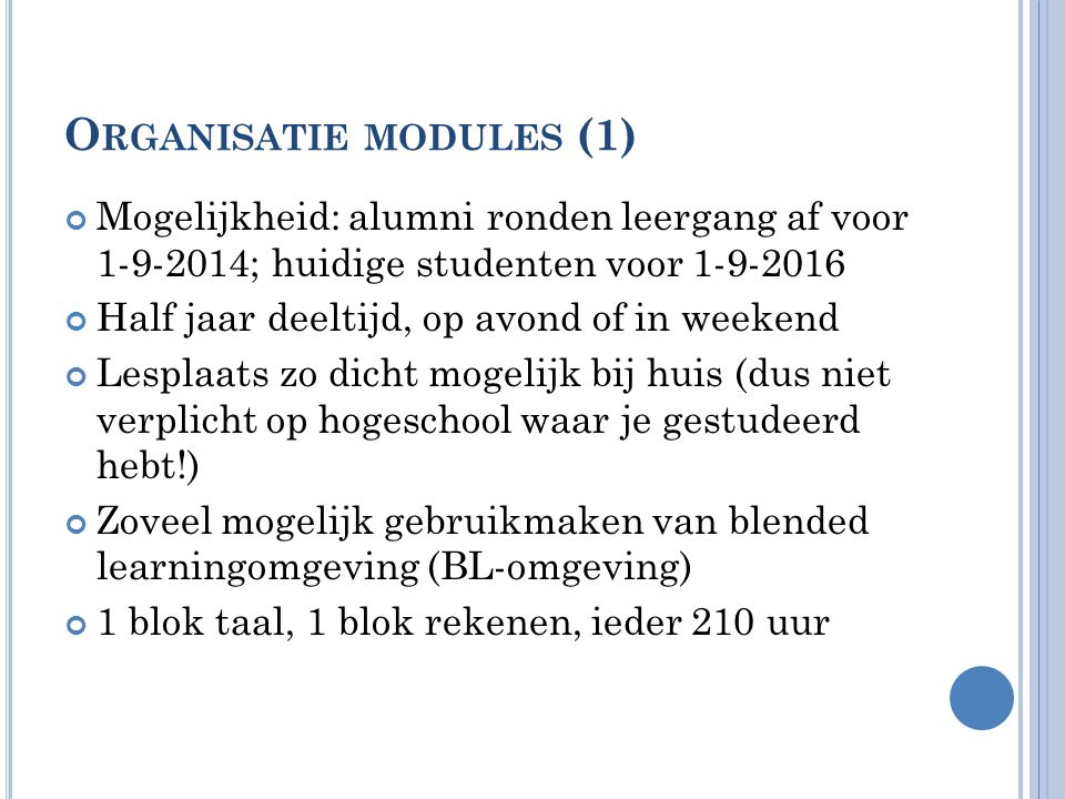 Organisatie modules (1)