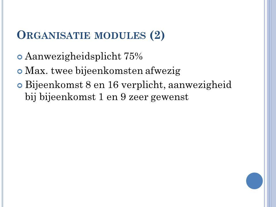 Organisatie modules (2)