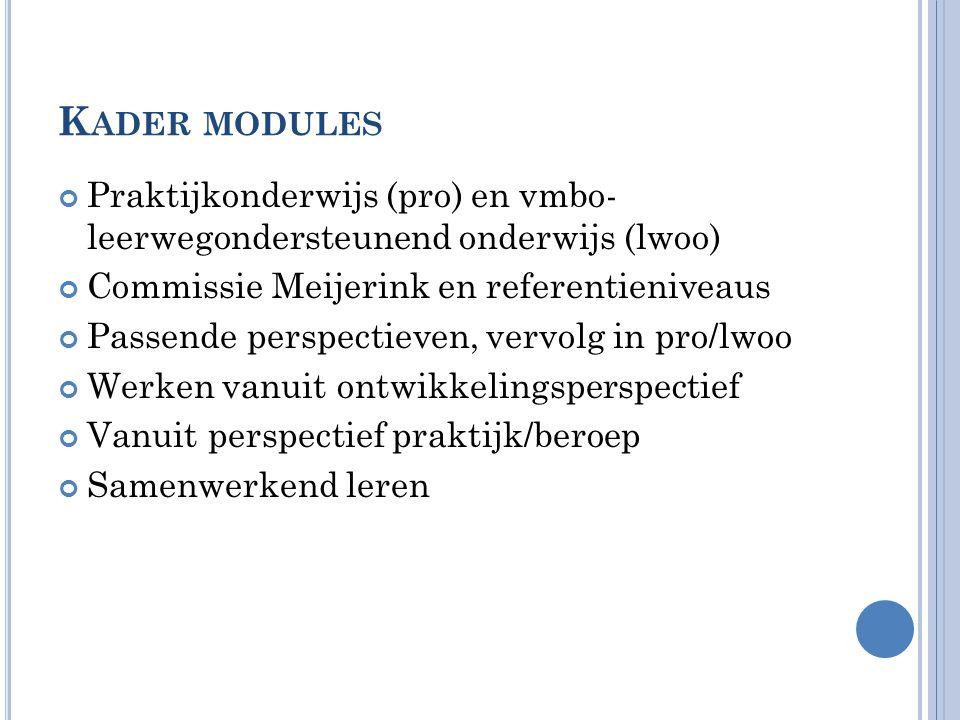 Kader modules Praktijkonderwijs (pro) en vmbo- leerwegondersteunend onderwijs (lwoo) Commissie Meijerink en referentieniveaus.