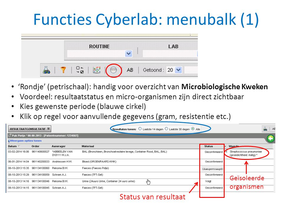 Functies Cyberlab: menubalk (1)