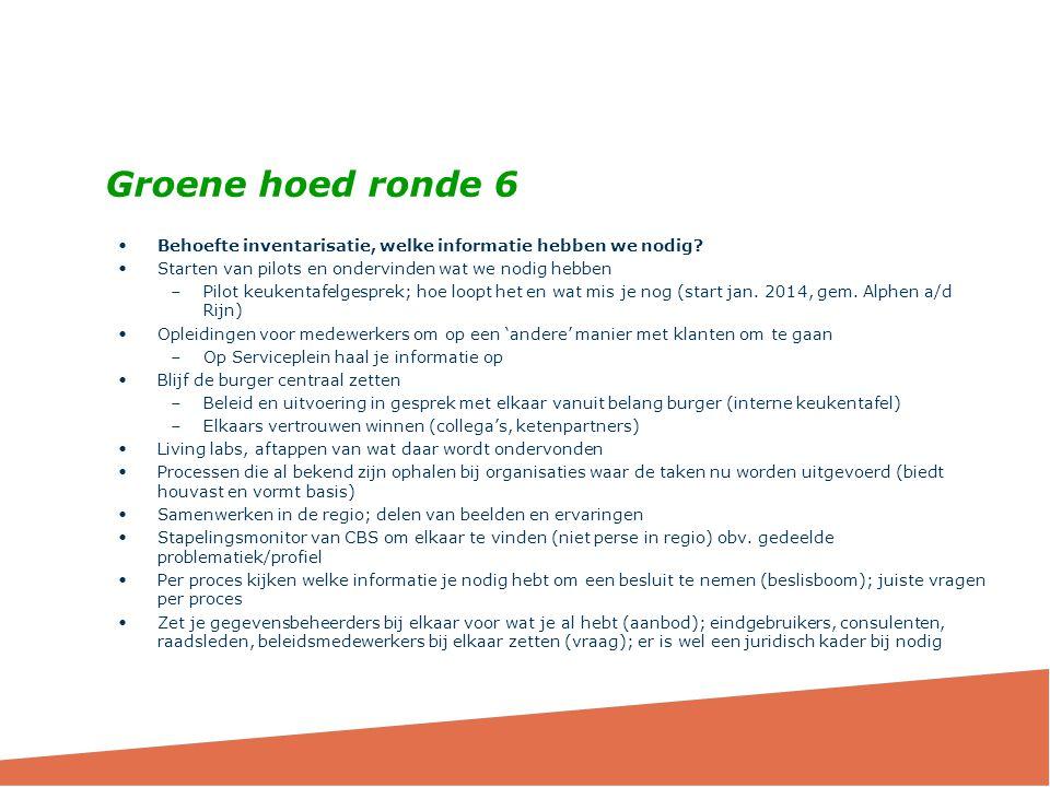 Groene hoed ronde 6 Behoefte inventarisatie, welke informatie hebben we nodig Starten van pilots en ondervinden wat we nodig hebben.