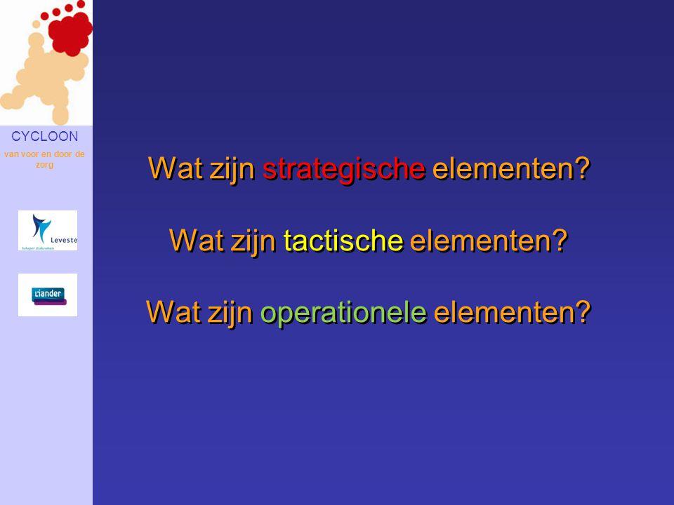 Wat zijn strategische elementen. Wat zijn tactische elementen