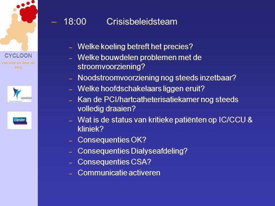 18:00 Crisisbeleidsteam Welke koeling betreft het precies
