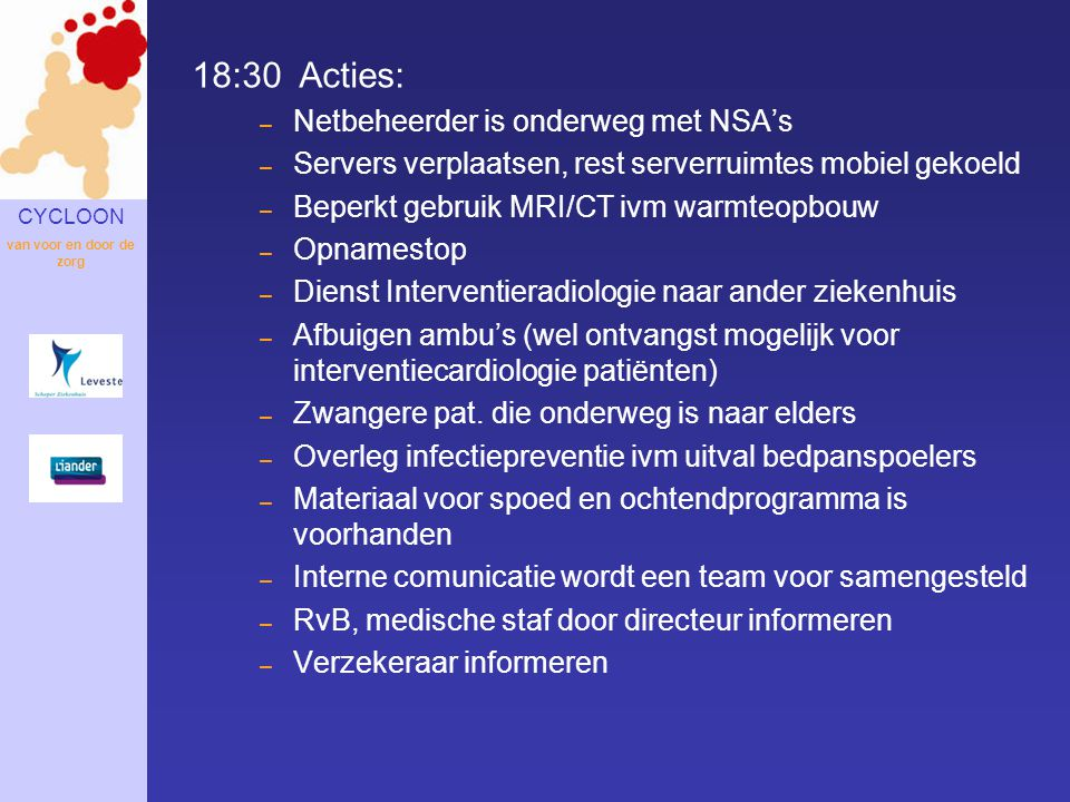 18:30 Acties: Netbeheerder is onderweg met NSA's