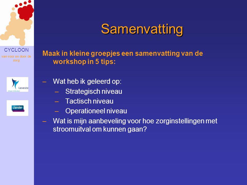Samenvatting Maak in kleine groepjes een samenvatting van de workshop in 5 tips: Wat heb ik geleerd op: