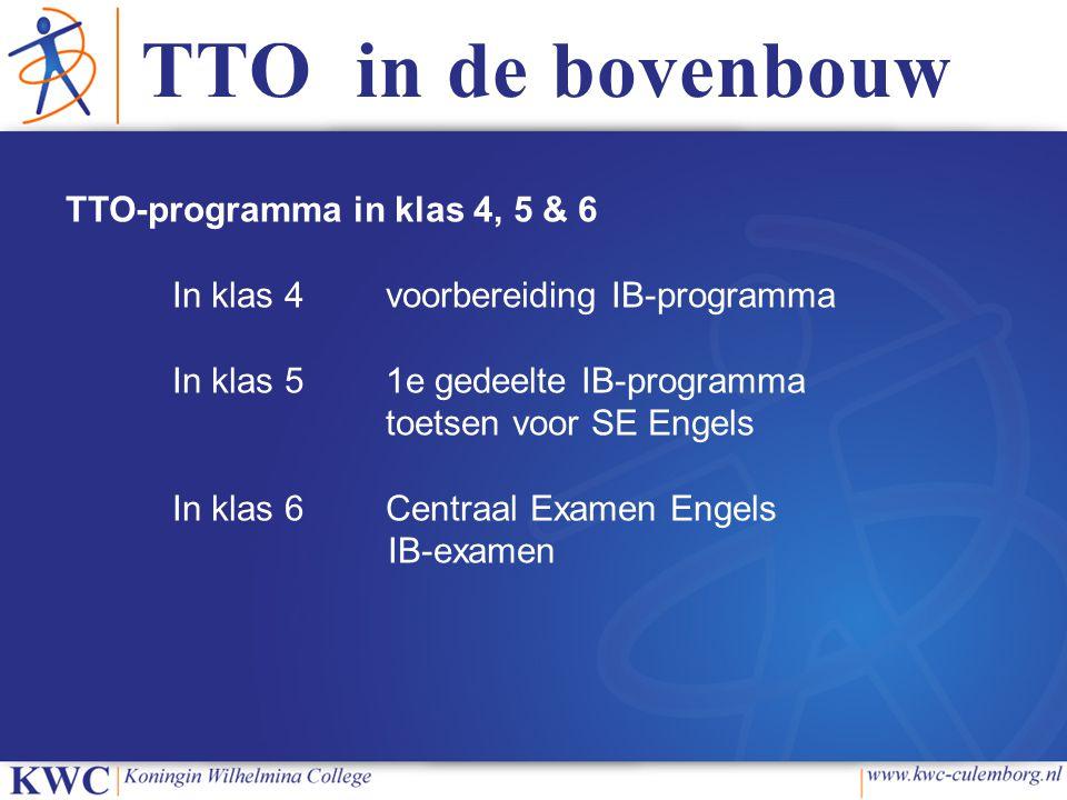 TTO in de bovenbouw TTO-programma in klas 4, 5 & 6