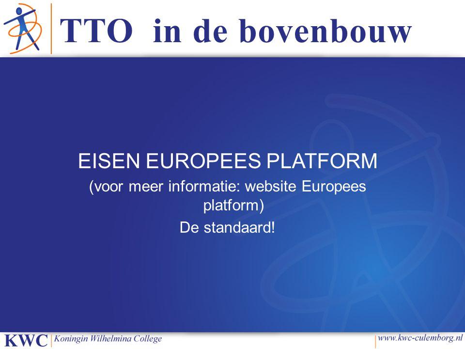 TTO in de bovenbouw EISEN EUROPEES PLATFORM