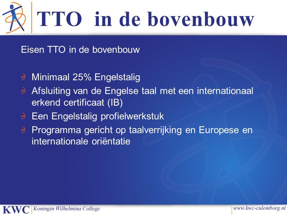 TTO in de bovenbouw Eisen TTO in de bovenbouw Minimaal 25% Engelstalig