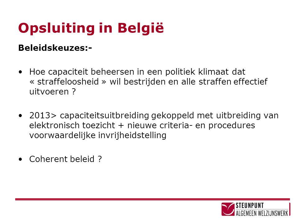 Opsluiting in België Beleidskeuzes:-