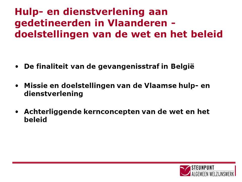 Hulp- en dienstverlening aan gedetineerden in Vlaanderen - doelstellingen van de wet en het beleid