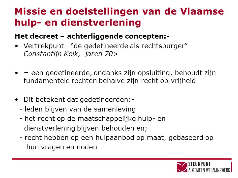 Missie en doelstellingen van de Vlaamse hulp- en dienstverlening