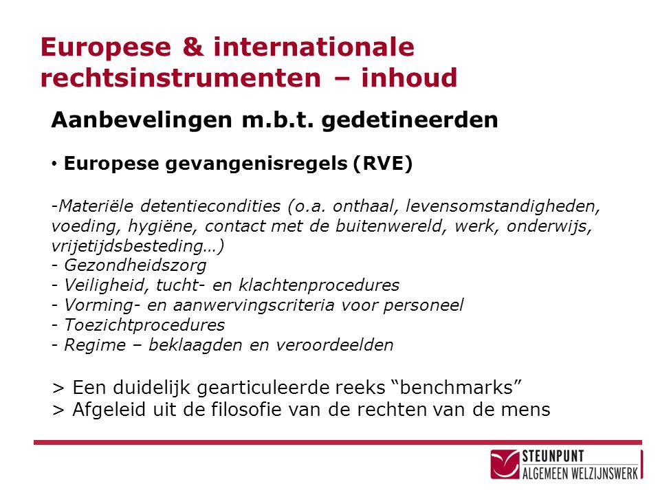 Europese & internationale rechtsinstrumenten – inhoud