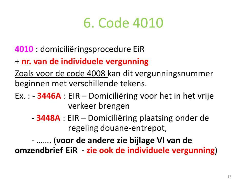 6. Code 4010