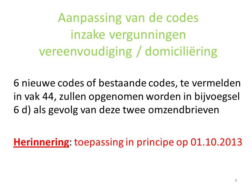Aanpassing van de codes inzake vergunningen vereenvoudiging / domiciliëring