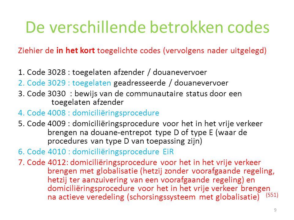 De verschillende betrokken codes