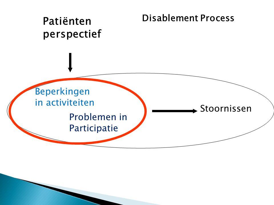 Patiënten perspectief Disablement Process Beperkingen in activiteiten