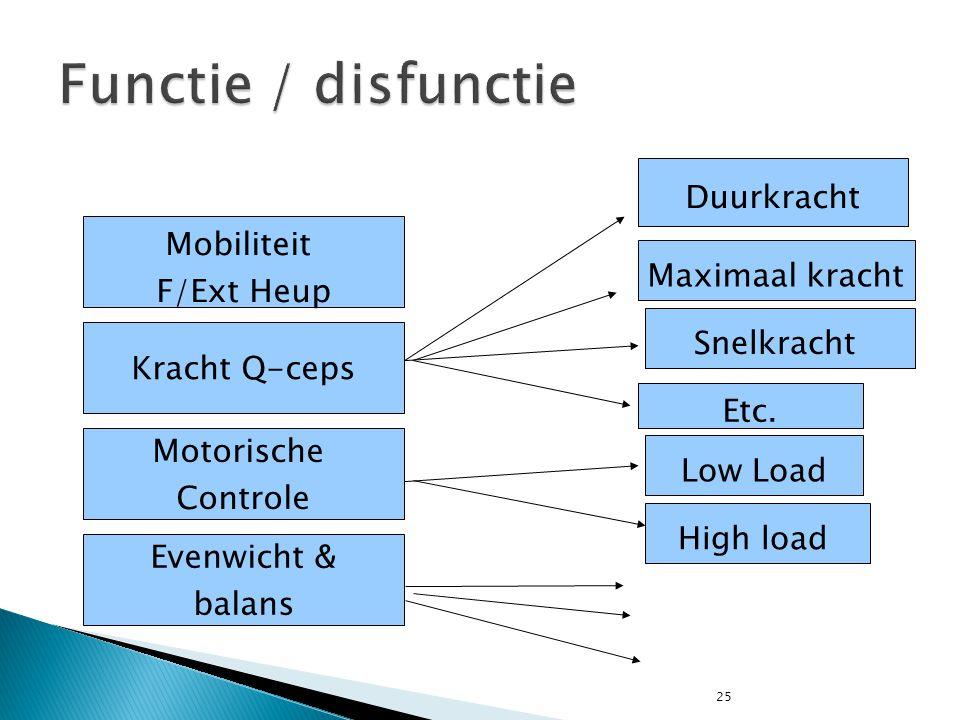 Functie / disfunctie Duurkracht Mobiliteit F/Ext Heup Maximaal kracht