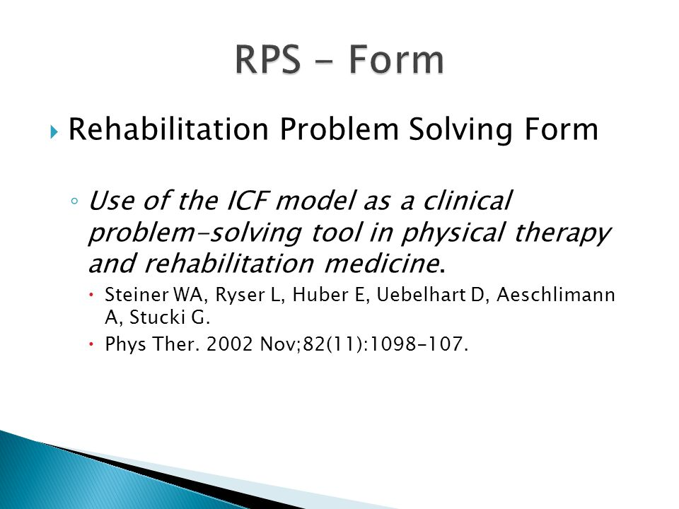RPS - Form Rehabilitation Problem Solving Form