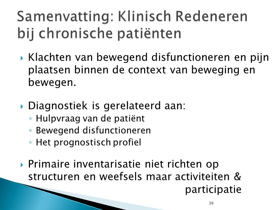 Samenvatting: Klinisch Redeneren bij chronische patiënten