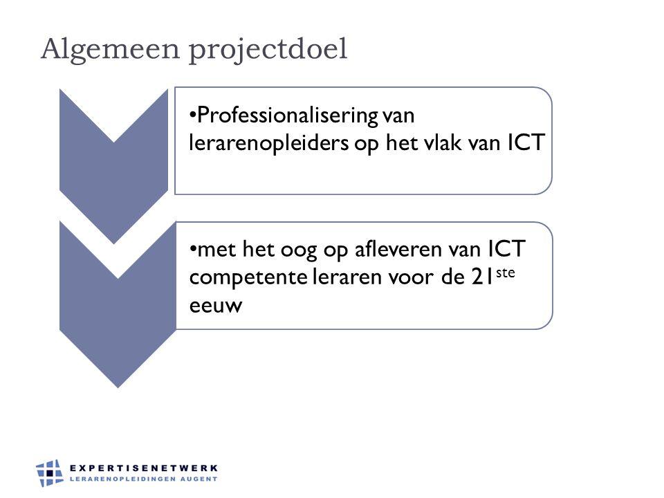 Algemeen projectdoel Professionalisering van lerarenopleiders op het vlak van ICT.