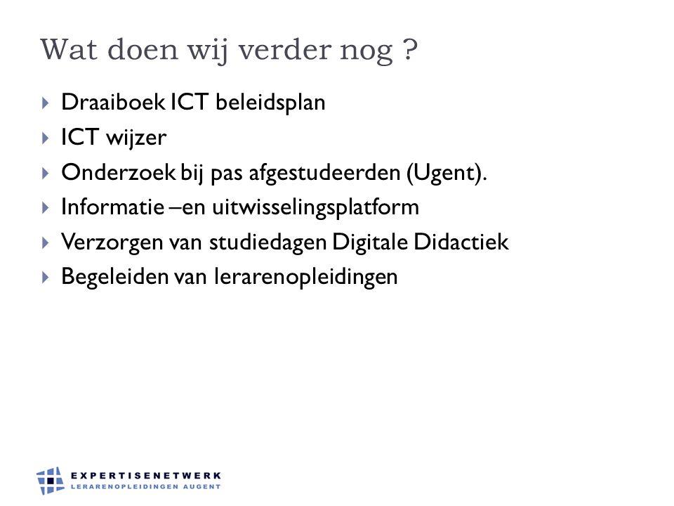 Wat doen wij verder nog Draaiboek ICT beleidsplan ICT wijzer