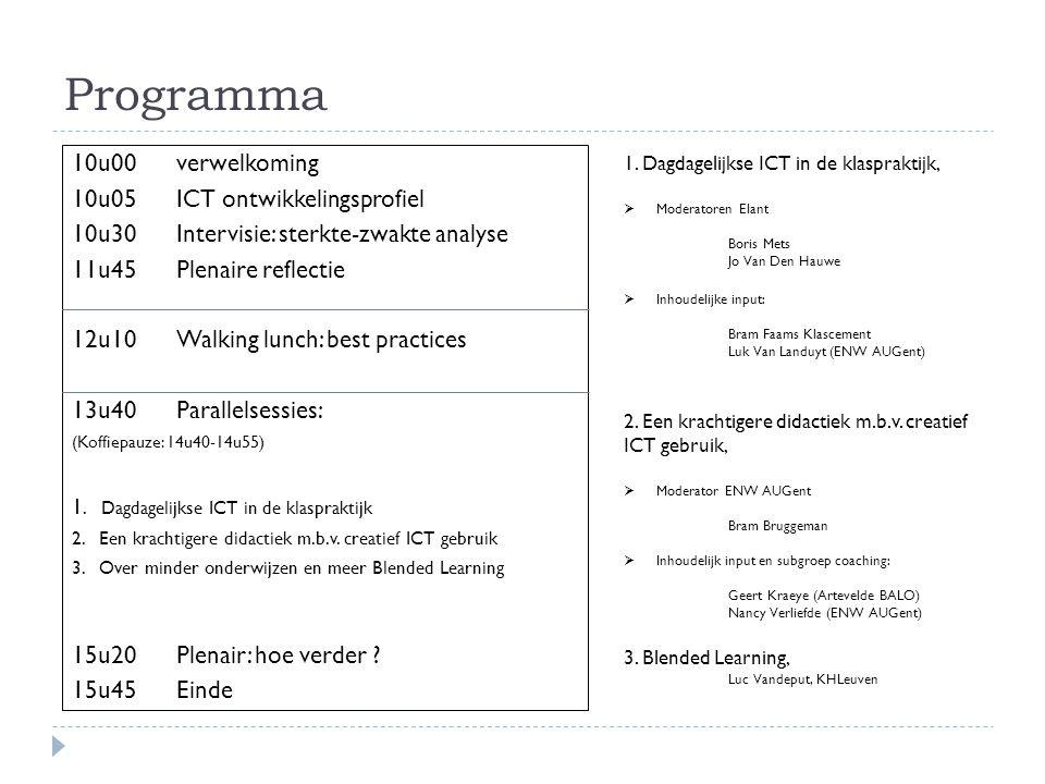 Programma 10u00 verwelkoming 10u05 ICT ontwikkelingsprofiel