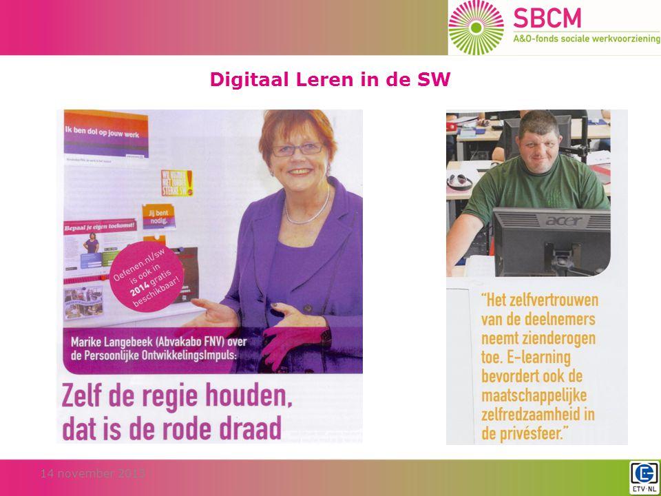 Digitaal Leren in de SW 14 november 2013