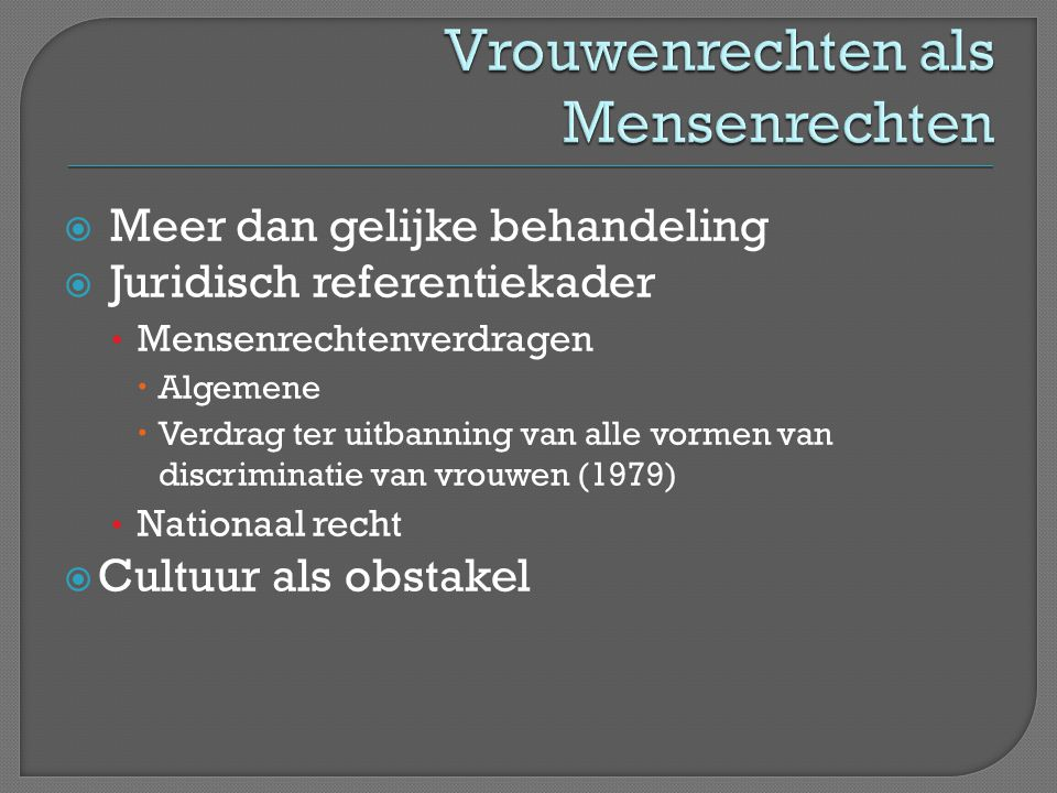 Vrouwenrechten als Mensenrechten