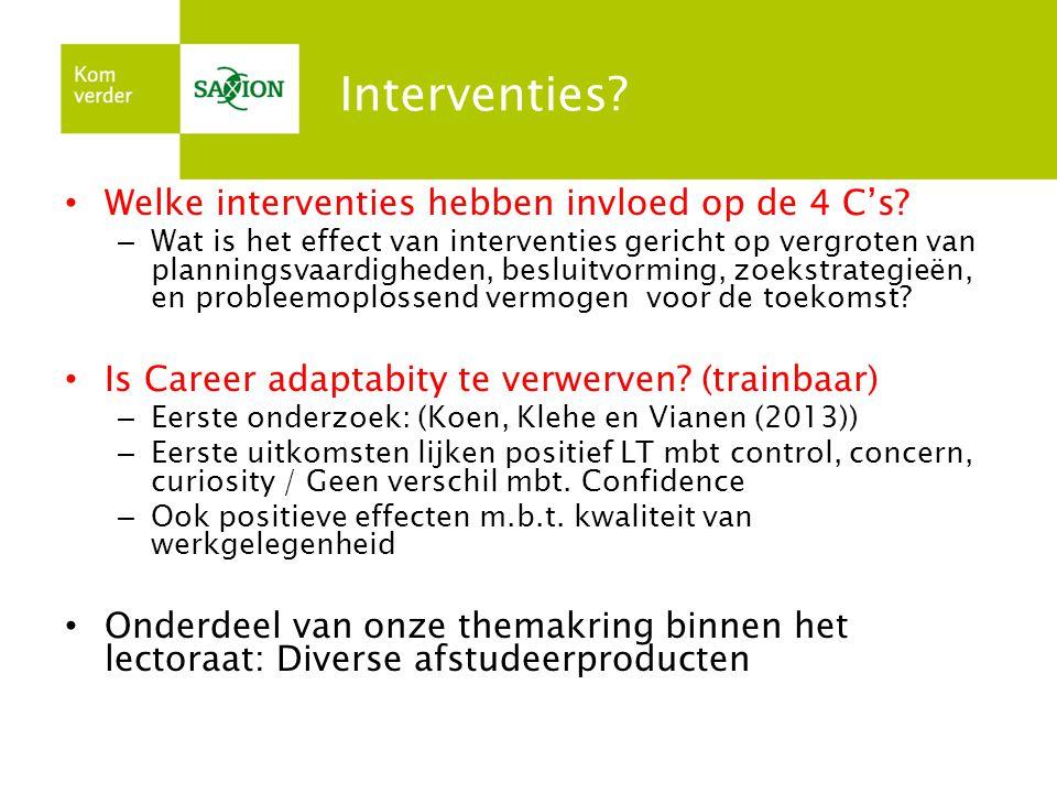 Interventies Welke interventies hebben invloed op de 4 C's