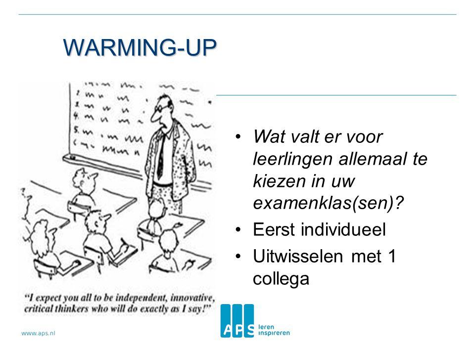 Warming-up Wat valt er voor leerlingen allemaal te kiezen in uw examenklas(sen) Eerst individueel.