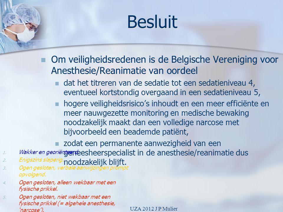 Besluit Om veiligheidsredenen is de Belgische Vereniging voor Anesthesie/Reanimatie van oordeel.
