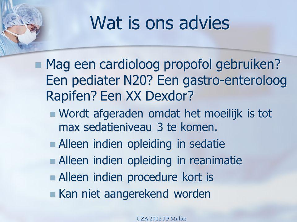 Wat is ons advies Mag een cardioloog propofol gebruiken Een pediater N20 Een gastro-enteroloog Rapifen Een XX Dexdor