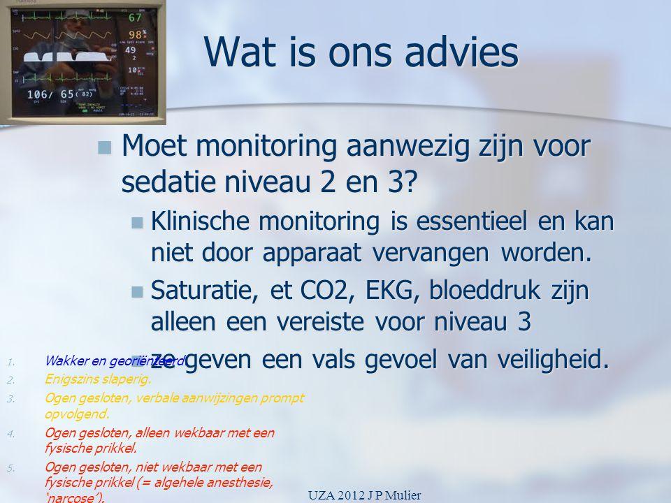 Wat is ons advies Moet monitoring aanwezig zijn voor sedatie niveau 2 en 3