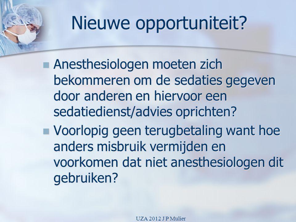 Nieuwe opportuniteit Anesthesiologen moeten zich bekommeren om de sedaties gegeven door anderen en hiervoor een sedatiedienst/advies oprichten