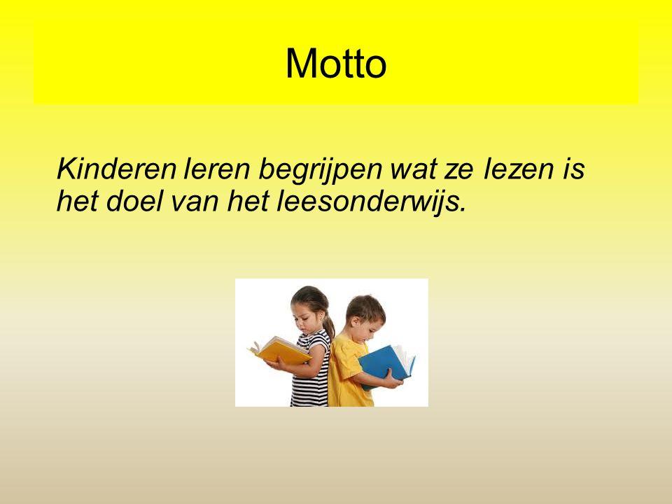 Motto Kinderen leren begrijpen wat ze lezen is het doel van het leesonderwijs.