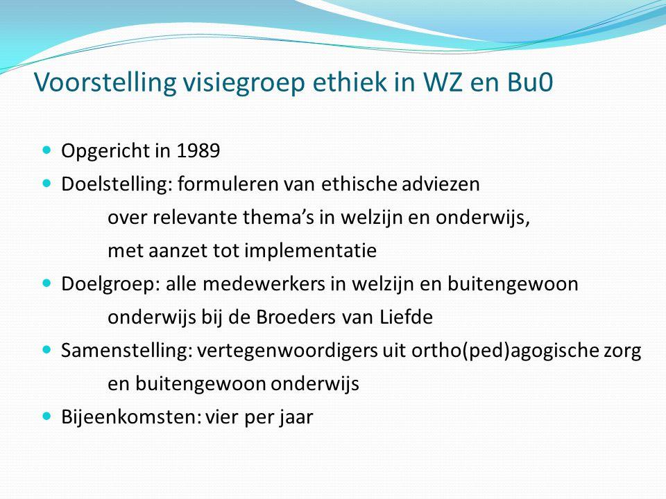 Voorstelling visiegroep ethiek in WZ en Bu0