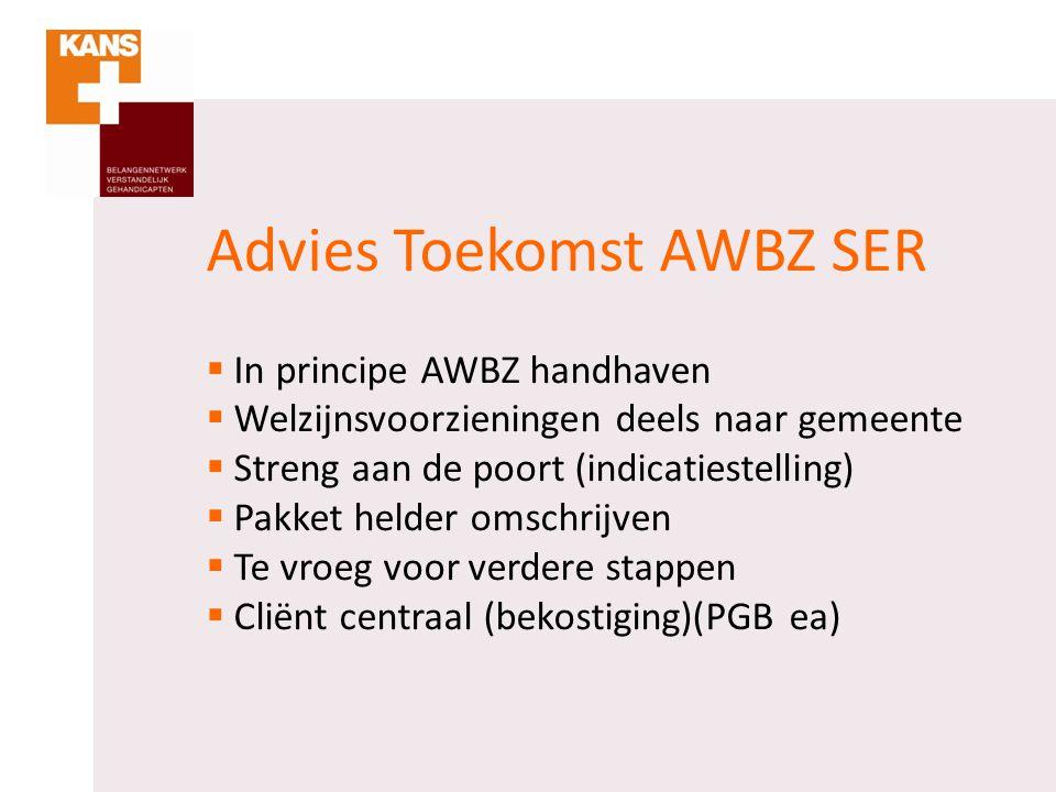 Advies Toekomst AWBZ SER