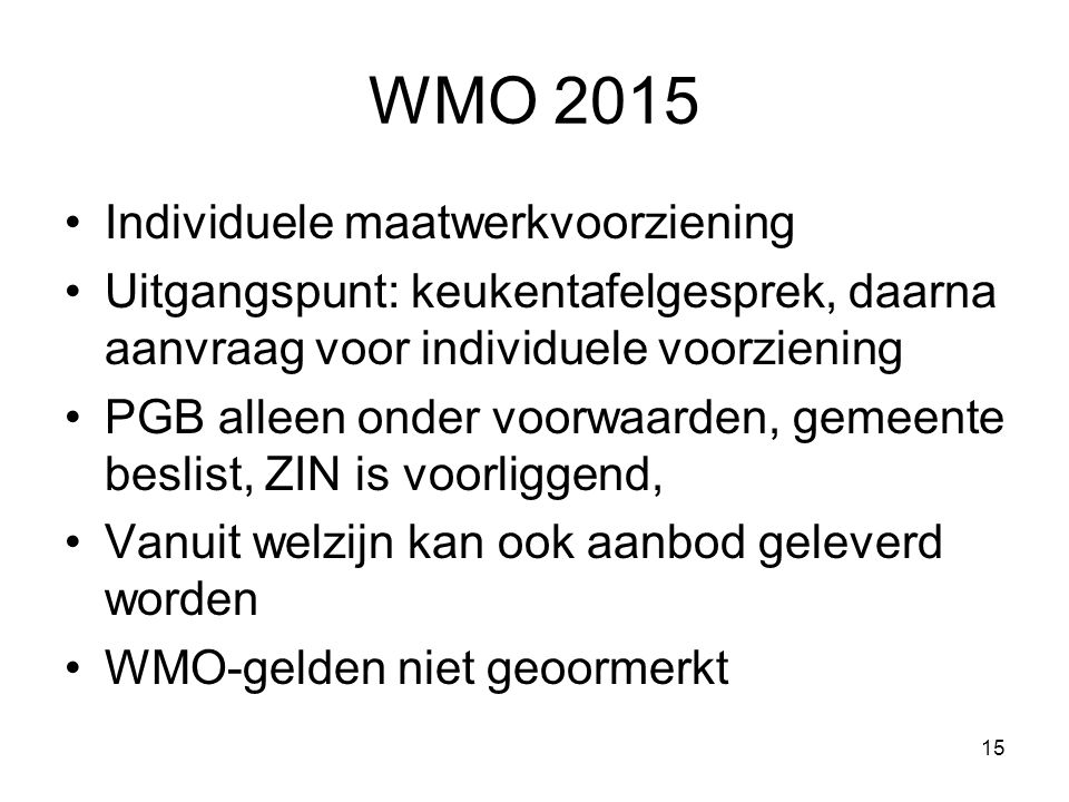 WMO 2015 Individuele maatwerkvoorziening