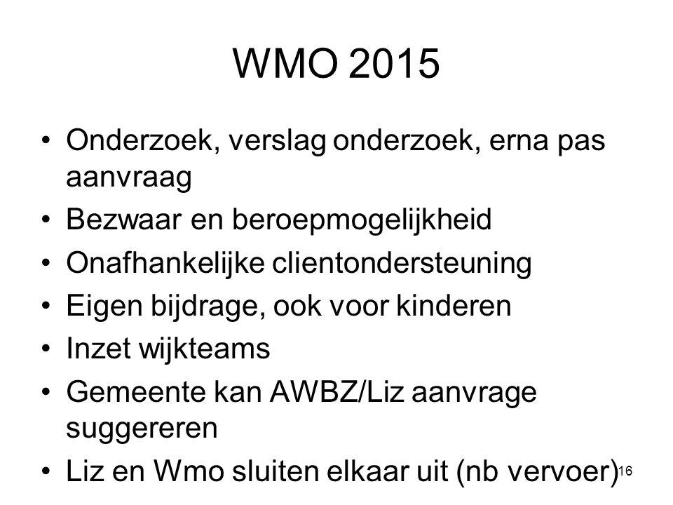 WMO 2015 Onderzoek, verslag onderzoek, erna pas aanvraag