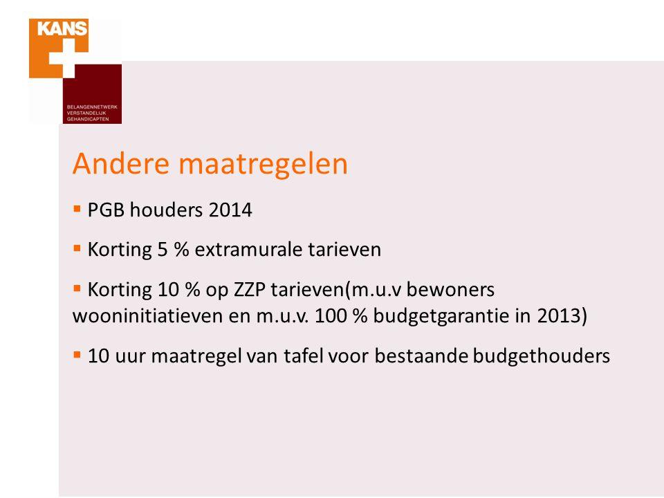 Andere maatregelen PGB houders 2014 Korting 5 % extramurale tarieven
