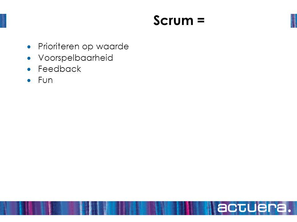 Scrum = Prioriteren op waarde Voorspelbaarheid Feedback Fun