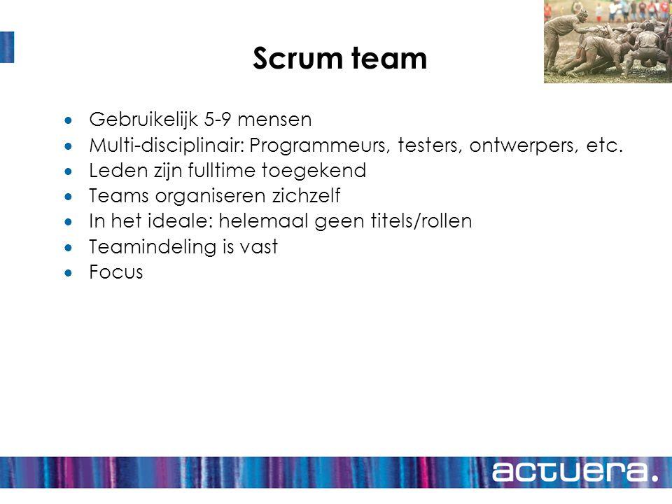 Scrum team Gebruikelijk 5-9 mensen